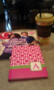 """Me"" time at a tea cafe -- reading a magazine and writing in a journal"