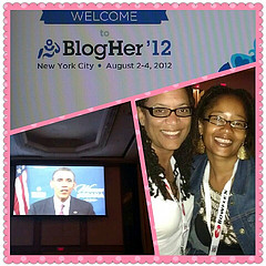 Seeing President Obama at BlogHer with Tracey Friley