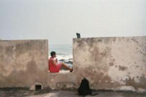 Ananda praying at Elmina Slave Castle in Cape Coast, Ghana in 2003