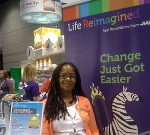 Ananda Leeke at the AARP #BlogHer Expo Booth