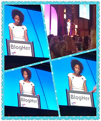 My BlogHer 12 Roomie Arnebya Herdon reading her Voices of the Year blog