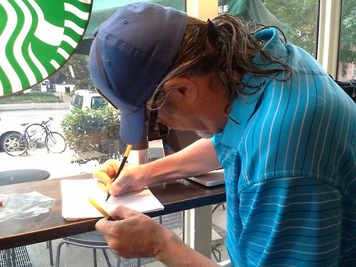 Jim Riccio making his My #DigCitizen Supports sign at Starbucks on 16th and U Streets, NW in DC